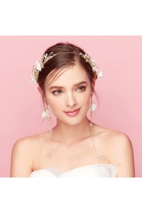 Boho Gold Leaf Flowers Pearl laurel wreath crown Wedding Prom Homecoming Tiara