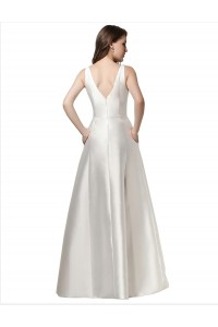 Simple Elegant A Line V Neck Plain White Satin Wedding Dress back