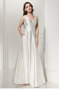 Simple Elegant A Line V Neck Plain White Satin Wedding Dress
