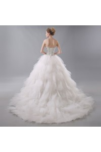 Gorgeous Ball Gown Sweetheart Corset Crystal Beaded Ivory Wedding Dress With Ruffles back