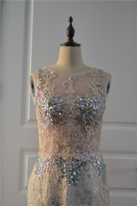 Beautiful See Through Mermaid Prom Party Dress Scoop Backless Pink Lace Tulle With Crystals