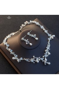 Boho Alloy Crystal Pearl Wedding Jewelry Set Including Necklace Earrings