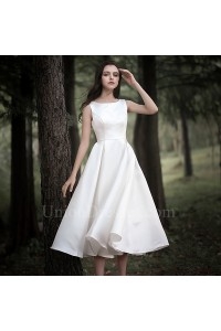 Elegant Bateau Tea Length A Line Beach Destination Wedding Dress