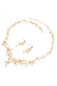 Boho Gold Alloy Crystal Pearl Wedding Jewelry Set Including Necklace Earrings