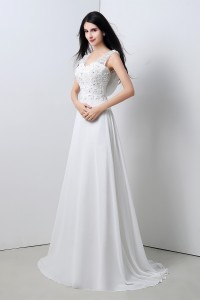 A Line V Neck Cowl Back Chiffon Lace Applique Wedding Dress With Buttons