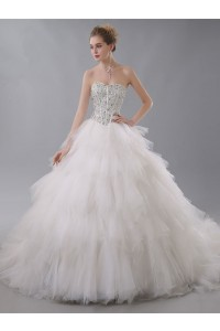 Gorgeous Ball Gown Sweetheart Corset Crystal Beaded Ivory Wedding Dress With Ruffles