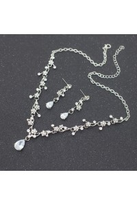 Stunning Alloy Crystal Flower Wedding Jewelry Set Including Necklace Earrings