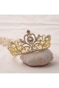 Gorgeous Gold Alloy Crystal Wedding Bridal Prom Tiara Crown