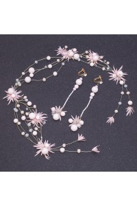 Greek Pink Flowers Pearl Gold Laurel Wreath Headpiece