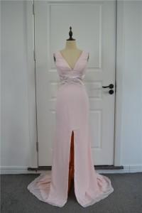 Beautiful Sheath Prom Party Dress V Neck Open Back High Slit Pink Chiffon With Cutouts