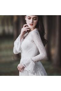 Modest Scoop Long Sleeve Lace A Line Beach Destination Wedding Dress