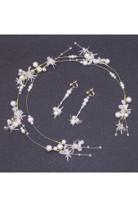Greek Flowers Pearl Gold Laurel Wreath Headpiece