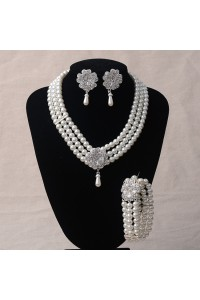 Elegant Pearl Diamond Wedding Bridal Jewelry Set Including Necklace And Earrings