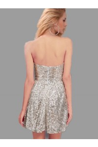 Cute A Line Strapless Short Mini Silver Sequin Party Prom Dress