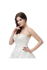 Chic Ball Gown Sweetheart Corset Crystal Beaded White Lace Wedding Dress
