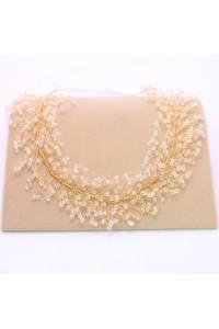 Boho Crystal White Ribbon Gold Laurel Wreath Headpiece