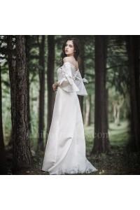 Elegant Off The Shoulder Long Sleeve A Line Beach Destination Wedding Dress With Bows