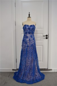 Elegant Floral A Line Prom Party Dress Sweetheart Sleeveless Royal Blue Lace