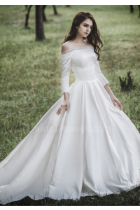Princess Off The Shoulder 3 4 Sleeve Corset Beaded Ball Gown Wedding Dress NO Lace