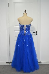 Sparkly A Line Prom Party Dress Sweetheart Corset Royal Blue Tulle With Crystals