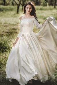 Princess Off The Shoulder 3 4 Sleeve Corset Beaded Ball Gown Wedding Dress