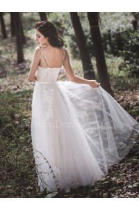 Princess V Neck Spaghetti Straps Tulle A Line Beach Destination Wedding Dress No Train