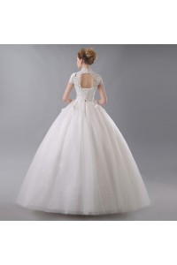 Ball Gown High Neck Short Sleeve Corset Open Back Crystal Beaded Lace Flowers White Wedding Dress back