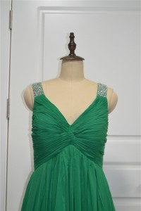 Elegant Beaded And Ruched A Line Prom Party Dress V Neck Sleeveless Green Chiffon