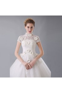 Ball Gown High Neck Short Sleeve Corset Open Back Crystal Beaded Lace Flowers White Wedding Dress