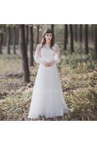 Boho Scoop Long Sleeve Low Back Lace A Line Wedding Dress