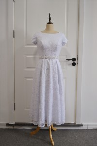 Modest Tea Length Beach Destination Wedding Dress Square Neckline Short Sleeves White Lace With Pearls