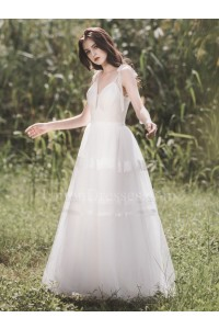 Boho V Neck Spaghetti Straps Lace A Line Beach Destination Wedding Dress Without Train