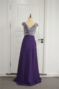Sparkly A Line Beaded Prom Party Dress V Neck Cap Sleeves Purple Chiffon Ruffles With Crystals