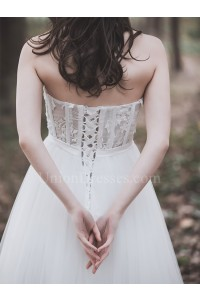 Boho Strapless Corset A Line Tulle Wedding Dress With Appliques