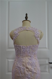 Stunning See Through Beaded Mermaid Prom Party Dress Sweetheart Open Back Lilac Lace