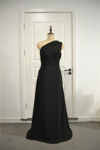 Elegant Ruched A Line Prom Party Dress One Shoulder Black Chiffon