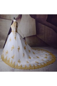 Ball Gown Boat Neckline Long Sleeve Beaded Gold Appliques White Tulle Wedding Dress back