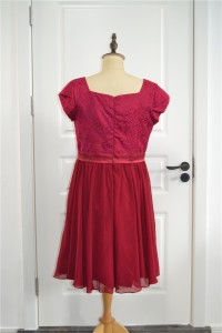 Elegant Short A Line Prom Bridesmaid Dress Scoop Short Sleeves Burgundy Lace Chiffon