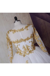 Ball Gown Boat Neckline Long Sleeve Beaded Gold Appliques White Tulle Wedding Dress