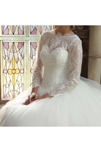 Ball Gown High Neck Long Sleeve Beaded Lace White Tulle Wedding Dress