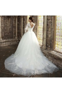 Ball Gown High Neck Long Sleeve Beaded Lace White Tulle Wedding Dress back