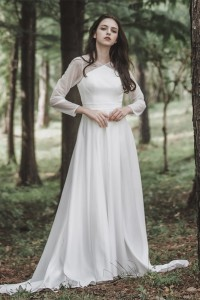 Modest V Neck Long Sleeve A Line Wedding Dress With Pearls