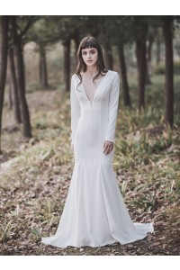 Sexy Deep V Neck Long Sleeve Open Back White Mermaid Wedding Dress With Buttons