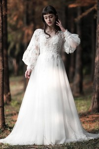 Stunning High Neck Long Sleeve A Line Tulle Wedding Dress With Beaded Appliques