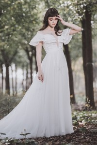 Romantic Scoop Ruffled Sleeve White Chiffon Crystal Beaded A Line Wedding Dress With Buttons