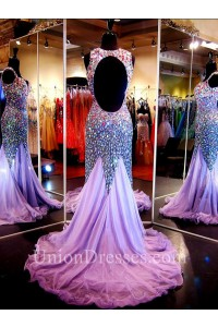 Sparkly Mermaid Sweetheart Open Back Lilac Tulle Beaded Prom Dress With Straps
