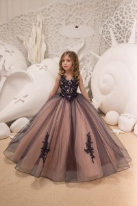 Princess Ball Gown V Neck Dusty Rose Tulle Flower Girl Dress With Navy Blue Appliques
