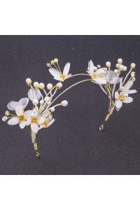 Boho Pearl Flower Gold Alloy Prom Homecoming Tiara Crown