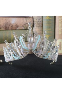 Greek Blue Crystal Gold Alloy Prom Homecoming Tiara Crown