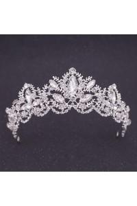 Royal Crystal Flower Leaf Wedding Bridal Tiara Crown